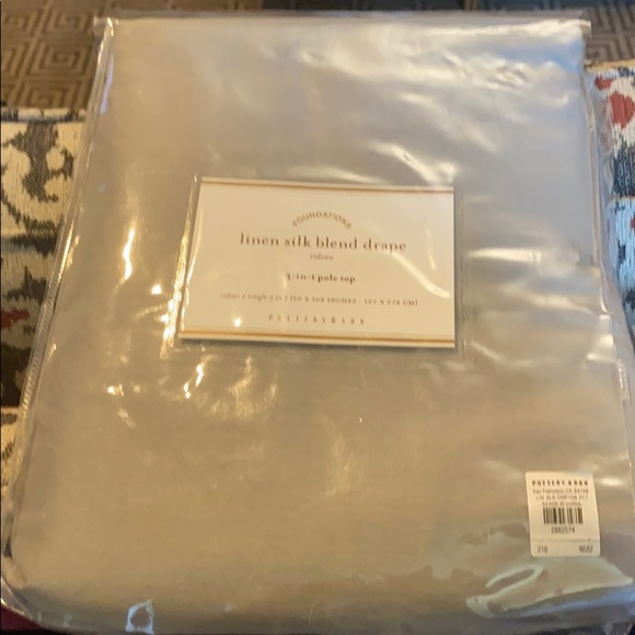 Pottery Barn Other - Set of four grey linen silk blend drapes.